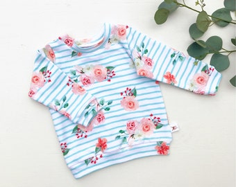 Floral Kids Shirt / Striped Floral Baby Shirt / Long Sleeve Stripe Sweatshirt / Baby Girl Clothes