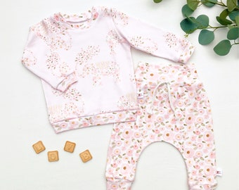 Elephants Kids Outfit / Floral Long Sleeve Baby Shirt / Girl Clothes / Toddler Shirt / Baby Pants