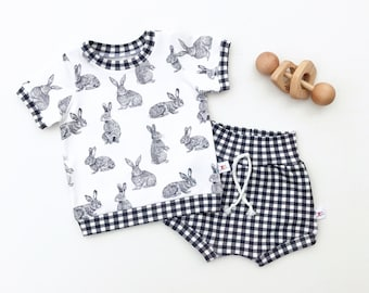 Bunny Baby Outfit, Rabbit Kids Outfit, Unisex Baby Shirt and Shorts Set, Black and White Gingham Shorts