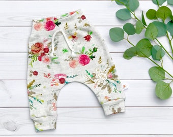 Floral Kids Pants, Organic Baby Pants, Floral Baby Leggings, Fall Kids Pants, Baby Girl Clothes, Gift Under 30