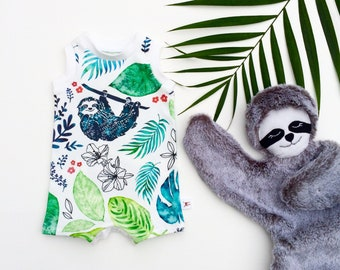 Sloth Kids Organic Romper, Unisex Kids Romper, Sloth Baby Romper, Tropical Baby Shorts Romper, Summer Romper, Kids Shorts Romper