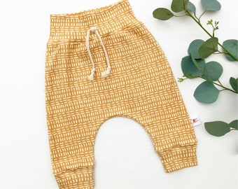 Mustard Stripe Baby Pants, Unisex Kids Pants, Mudcloth, Fall Kids Pants
