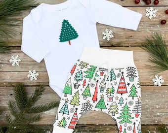 Christmas Tree Bodysuit / Organic Baby Pants / Winter Kids Leggings / Kids Pants