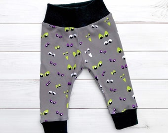 Halloween Baby Pants, Monster Baby Leggings, Eyeballs Baby Leggings, Unisex Kids Pants