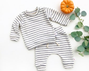 Grey Stripe Baby Pants, French Terry Baby Leggings, Unisex Kids pants, Fall Baby Pants, Gender Neutral