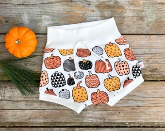 Pumpkin Baby Shorts, Organic Baby Shorts, Pumpkins Shorts, Shorties, Autumn, Fall Baby Clothes