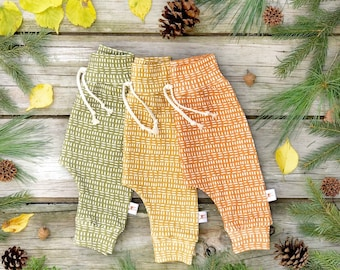 Burnt Orange Stripe Baby Pants, Unisex Kids Pants, Mudcloth, Fall Kids Pants, Mustard Kids Pants, Olive Green Kids Pants