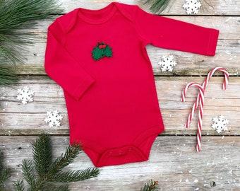 Holly Berry Bodysuit / Christmas Bodysuit / Unisex Organic Bodysuit / Red Winter Kids Bodysuit / Long Sleeve Bodysuit / Short Sleeve