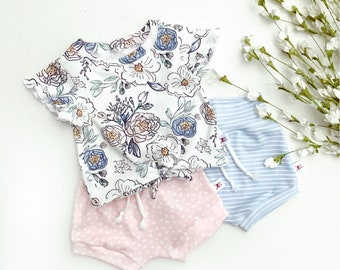 Floral Tie Front Girls Top, Ruffle Sleeve Baby Shirt / Pink Polka Dot Baby Shorts / Knotted Front Baby Shirt