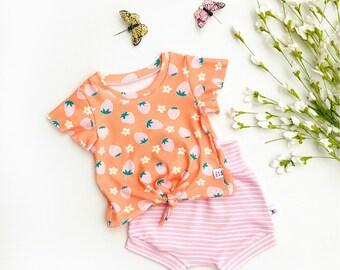 Strawberries Tie Front Girls Top, Ruffle Sleeve Baby Shirt / Pink Stripe Baby Shorts / Strawberry Knot Front Shirt / Short Sleeve Baby Shirt