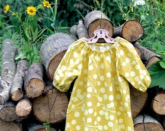 Fall Vintage Floral Dress, Girls Cotton Dress, Fall Baby Dress, Honey Yellow Peasant Dress