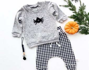 Halloween Baby Outfit, Spider Shirt, Fall Kids Outfit, Gender Neutral Kids, Buffalo Plaid Baby Pants, Baby Sweatshirt, Kids Pullover