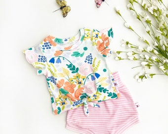 Floral Tie Front Girls Top, Ruffle Sleeve Baby Shirt / Pink Stripe Baby Shorts / Knot Front Shirt / Short Sleeve Baby Shirt