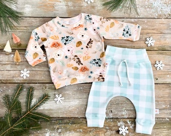 Floral Baby Pullover / Winter Kids Sweatshirt / Floral Top / Toddler Shirt / Baby Pants / Mint Green Buffalo Plaid Kids Pants