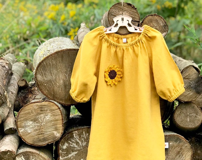 Featured listing image: Autumn Linen Baby Dress / Sunflower Linen Dress / Girls Mustard Linen Dress / Fall Baby Dress / Peasant Dress
