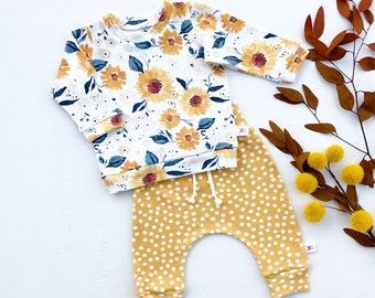 Sunflower Baby Sweatshirt, Mustard Polka Dot Kids Pants, Fall Baby Outfit, Baby Girl Gift