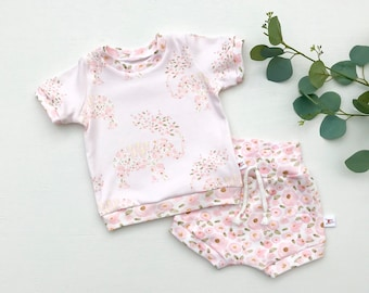 Elephants and Flowers Kids Outfit / Short Sleeve Baby Shirt / Girl Clothes / Toddler Shirt / Baby Shorts