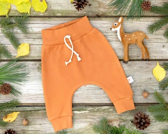 Burnt Orange Kids Pants, Pumpkin Spice Organic Baby Pants, Unisex Kids Pants, Fall Kids Pants, Solid Kids Pants