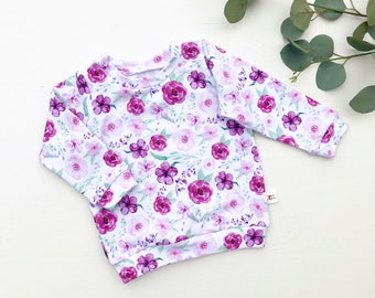 Purple Floral Kids Shirt / Floral Baby Shirt / Long Sleeve Floral Sweatshirt / Baby Girl Clothes