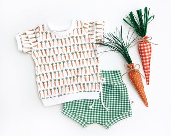 Carrots Baby Outfit, Vegetable Kids Outfit, Unisex Baby Shirt and Plaid Shorts Set, Baby Gift Set