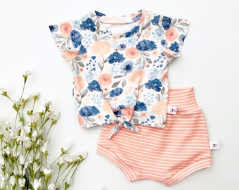 Floral Tie Front Girls Top, Ruffle Sleeve Baby Shirt / Stripe Baby Shorts / Short Sleeve Baby Shirt / Girl Clothes / Toddler Shirt