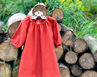 Autumn Linen Baby Dress, Burnt Orange Linen Dress, Pumpkin Spice Girls Linen Dress, Fall Baby Dress, Peasant Dress