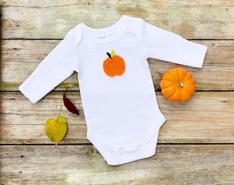 Autumn Pumpkin Bodysuit, Unisex Organic Bodysuit, Fall Bodysuit, Long Sleeve Bodysuit, Short Sleeve Bodysuit