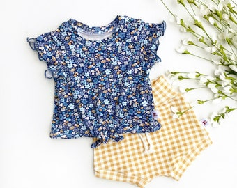 Blue Floral Tie Front Girls Top, Ruffle Sleeve Baby Shirt / Mustard Gingham Baby Shorts / Short Sleeve Kids Shirt, Knot Front Baby Shirt