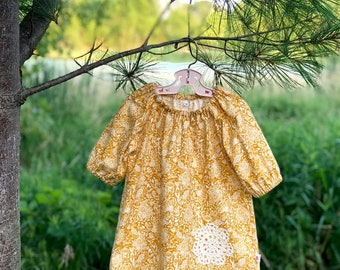 Fall Floral Dress, Girls Cotton and Lace Dress, Fall Baby Dress, Peasant Dress, Back to School Dress