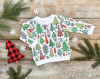 Christmas Trees Baby Sweatshirt / Organic Baby Pullover / Winter Kids Sweatshirt / Unisex Kids Top / Toddler Shirt