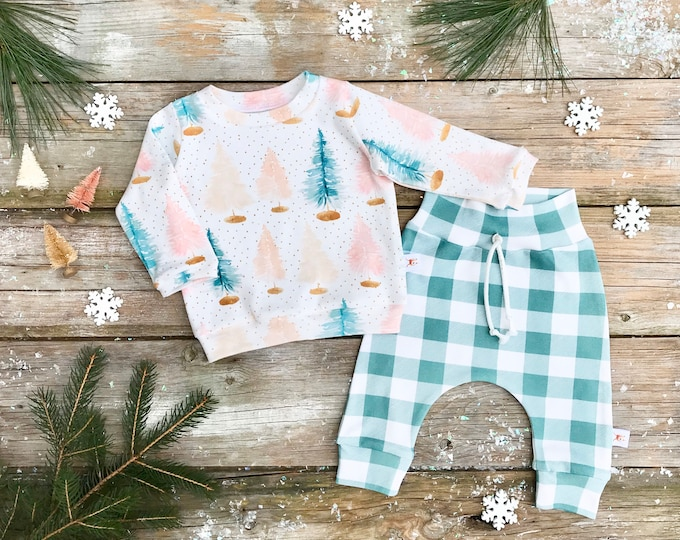 Featured listing image: Pastel Christmas Trees Baby Sweatshirt Set / Winter Kids Sweatshirt / Bottle Brush Trees Top / Toddler Shirt / Green Buffalo Plaid Pants