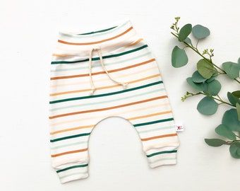 Gender Neutral Stripe Baby Pants, Striped Kids Pants, Green Stripe Baby Leggings, Unisex Kids