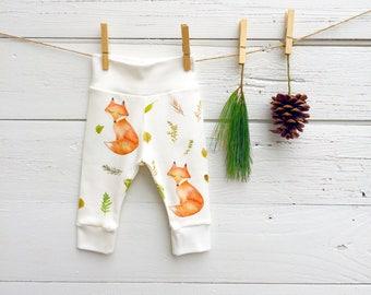 Organic Baby Leggings, Fox Baby Pants, Unisex Baby Pants, Fox Baby Leggings, Unisex Baby Clothes, Baby Girl Pants, Baby Boy Pants