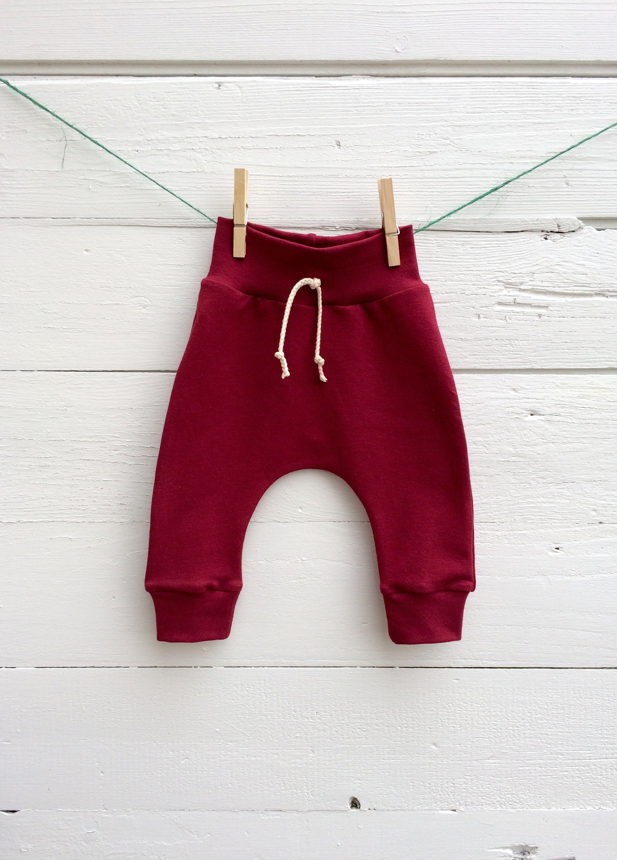 5b7adfcd4 Cranberry Red Baby Pants, Kids Harem Pants, Unisex Kids Clothes, Baby  Leggings, French Terry Baby Pants, Solid Color Pants, Christmas Kids