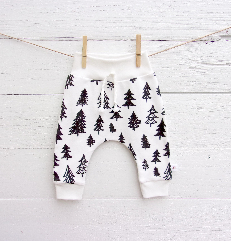 8a0c46d298c8 Scandinavian baby leggings unisex kids pants organic baby pants harem pants  black and white trees baby