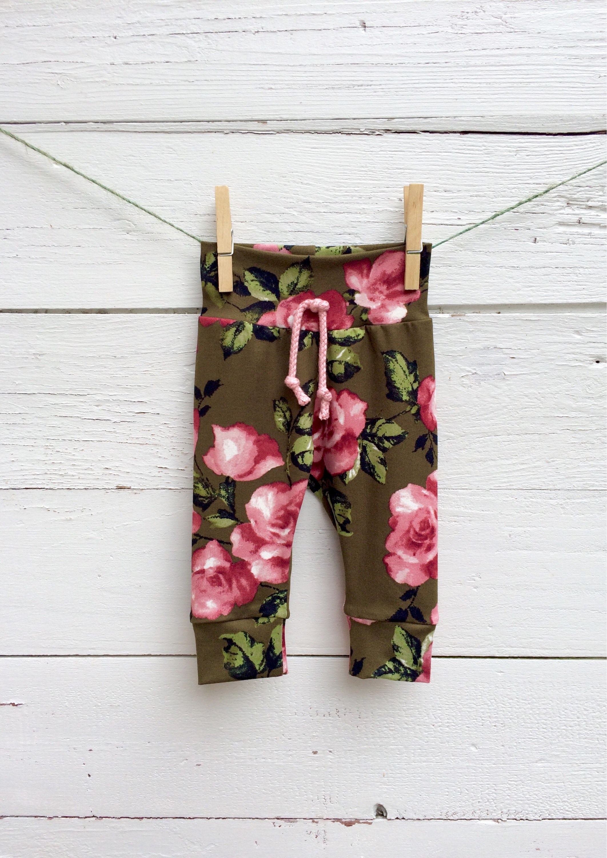 Olive Green And Pink Floral Baby Pants Fall Baby Leggings Baby