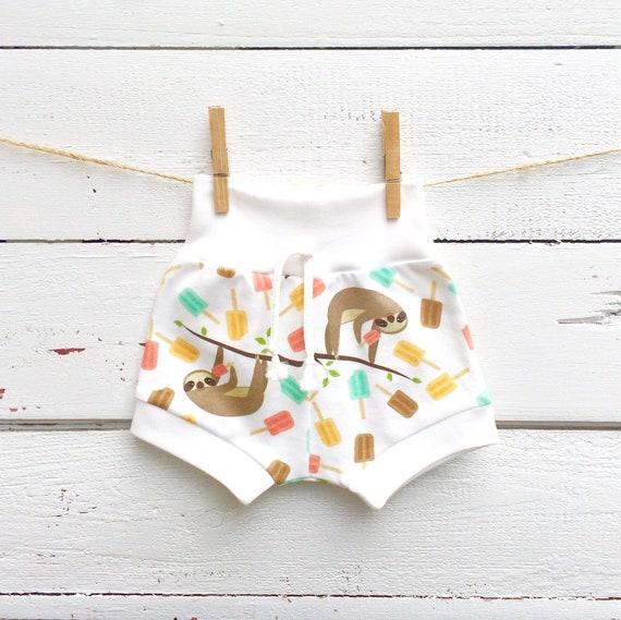 d0ee3322a72b Sloth Baby Shorts Organic Kids Shorts Shorties Popsicle