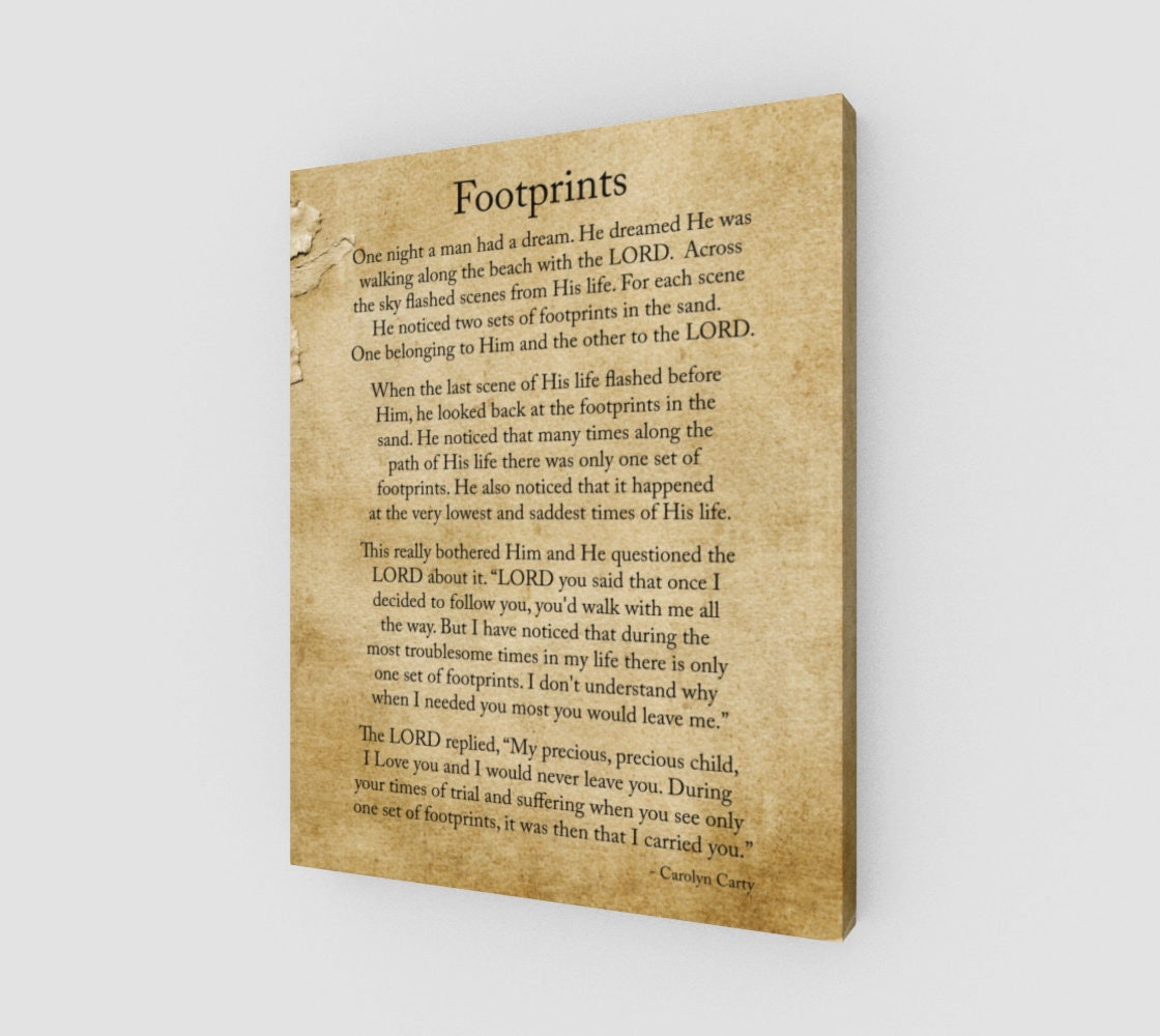 Footprints 16x20 Canvas Footprints poem Inspirational poem