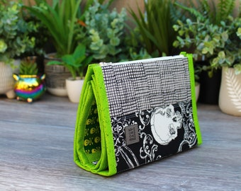Skullduggery and Crosshatch Small Booklet Pouch transparent vinyl pockets -large zipper pouch, project bag, craft bag   Halloween