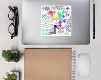 Rainbow Geometric Chaos bubble-free stickers
