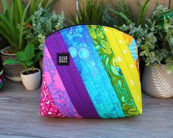 Patchwork Rainbow Bellevue Pouch size large   cosmetics case   project bag   zipper pouch   travel case
