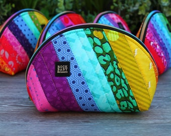 Patchwork Persimmon Pouch size large   cosmetics case   project bag   zipper pouch   travel case