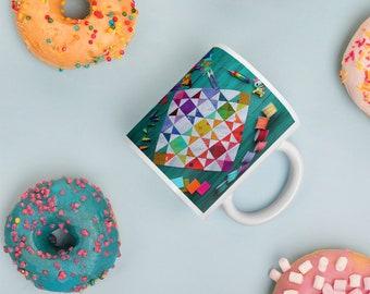 Rainbow Quilt Block Mug