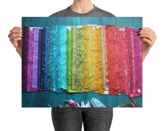 Rainbow Fabric Printed Photograph wall art   craft or sewing room wall decor   Poster