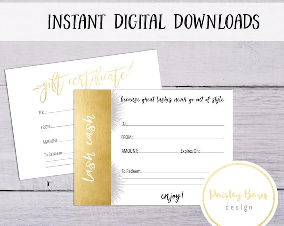 Lash Cash Gift Certificate Instant Digital Download | skincare business, Rodan and Fields, gold, white, simple, printable