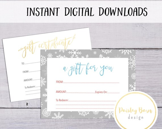 Holiday Gift Certificate Instant Digital Download | skincare business, Rodan and Fields, gold, white, simple, printable, snowflake, winter