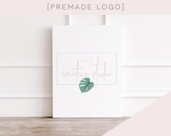 Simple Logo | monstera, premade logo, logo design, minimalist, light, plants, design studio, photographer, leaf, green, modern