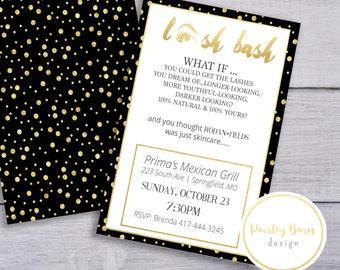 LASH BASH Invite   Printable Invite Digital File   4x6 5x7   Invitation, Custom, Skincare, Skinvitation, Printed