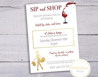Sip and Shop Invite   Printable Digital File   Custom, Skincare, Skinvitation, Printed, BBL, Happy Hour, girls night, invitation, wine, shop