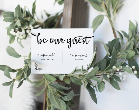 """INSTANT DOWNLOAD """"Be our Guest"""" Wifi Printable 